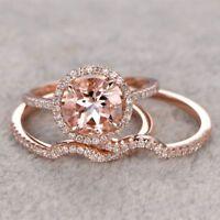 2.5CT Morganite Engagement Ring 14k Rose Gold Over Wedding Promise Bridal Set