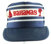 Vintage Bahamas Snapback Trucker Cap Mesh Hat Blue Red White