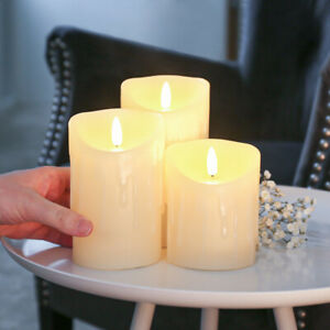 Authentic Flame Battery Dripping Wax Flickering LED Pillar Candle Lights