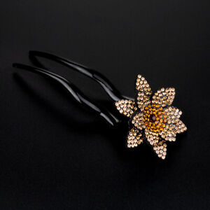Rhinestone Hair Sticks for Women Flower Hairpins Ponytail Clips Hair Accessories