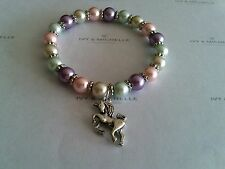 Multi-Color  Glass Pearl w/ Silver Tone Unicorn Charm Beaded Stretch Bracelet