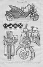 Motorrad Cyklonette Cyklon Trike HOLZSTICHE von 1911 Motorwagen