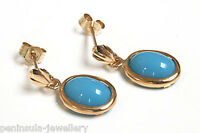 9ct Gold Turquoise Drop Oval Earrings Gift Boxed Made in UK Christmas Gift