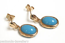 9ct Gold Turquoise Drop earrings Gift Boxed