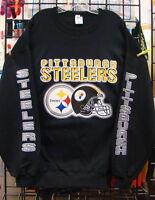 Pittsburgh STEELERS, BLACK Crewneck SWEATSHIRT,  S, M, L, XL, 2XL, 3XL, 4XL, 5XL