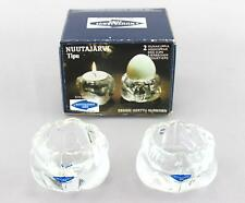 2 x Nuutajarvi Tipu candlesticks / egg cups Boxed Finnish glass design