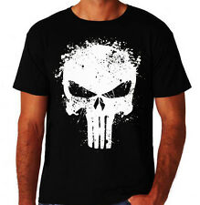 The Punisher Spatter Skull Logo Frank Castle Comic Book Vigilante Black T-Shirt