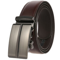 Trend Men's Real Leather Belt Automatic Buckle Strap Ratchet Waistband Gift Suit
