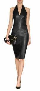 Genuine Leather Dress, Handmade Lambskin Leather Dress, Plus Size Custom Made