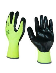 Size: 11 Green Back Nitrile Palm Work Gloves x 120 Pairs