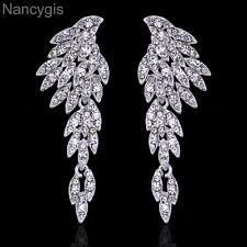 Elegant Silver Crystal Eagle Shape Long Drop Party Gift Bridal Wedding Earrings