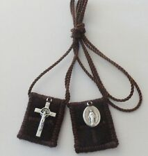 Small Brown Wool Catholic Scapular + Miraculous Medal and St Benedict Crucifix