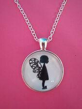 Bambina Fata Silhouette Collana con ciondolo d'argento in vetro NUOVO nella borsa regalo