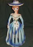 VINTAGE BLUE DRESS LADY NAPKIN / CANDLE HOLDER RHINESTONE EYES  KREISS & COMPANY