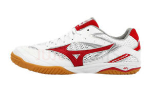 Mizuno WAVE DRIVE 8 Table Tennis Shoes Unisex White Red Paddles 81GA170562