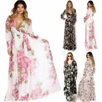 Women Summer Vintage Boho Long Maxi Evening Party Beach Dress Floral Sundress NW