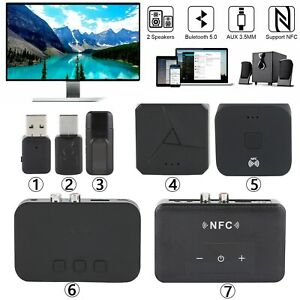 Bluetooth 5.0 Transmitter Receiver 4in1 Kabellos Audio 3.5mm USB Aux Adapter E1