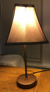 Table Lamp Bedside Desk Lamp Nightstand ,any Room Dark Metallic W/ Tan Shade.