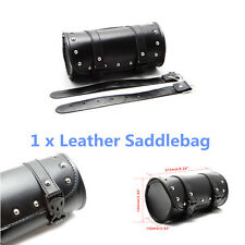1x PU Leather Motorcycle Luggage Synthetic Handle Bag Round Barrel Storage Pouch