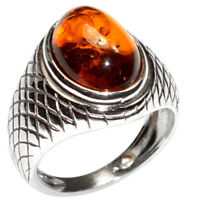 5.9g Authentic Baltic Amber 925 Sterling Silver Ring Jewelry N-A7434