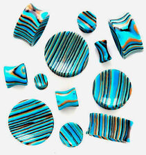 Pair Concave Striped Blue Stone Ear Plugs Tunnels Earlets 6g 4mm MB ML7