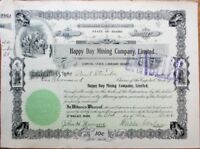 Happy Day Mining Company 1906 Stock Certificate - Wallace, Idaho ID - Version 1