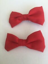 Hair Clips, 2 Red Fabric Bow Design Hair Clips Great for Wedding, clip jeûne