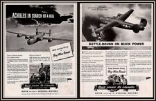 AD LOT OF 2 1943 WWII ADS  BUICK LIBERATOR BOMBER FLINT  DEAD EYE DICK