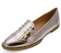 LADIES ROSE GOLD PATENT SLIP-ON FLAT LOAFERS SMART CASUAL COMFY WORK SHOES 3-8