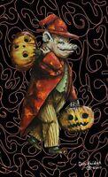 Lovely Wizard Pig Swine Halloween Vintage Style Original Sketch Postcard Signed!