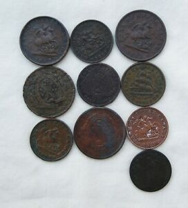 Lot of 10 Canadian Tokens from the 1800's