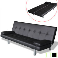 vidaXL Sofa Bed w/ 2 Pillows Faux Leather Adjustable Couch Home Black/Cream