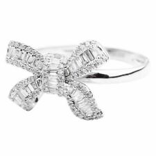 Women Finger Ring Wedding Party Full Rhinestone Bow Bridal Fashion Jewelry Gifts