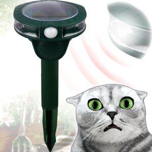 GRUNDIG Solar Tier Abwehr Vertreiber Ultraschall LED Katzen Marder Hund Schreck