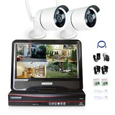 720p 4CH HDMI NVR Wireless Home Video Security Camera System IP 2Pcs LCD Monitor