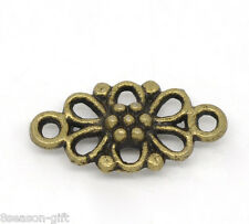 100 Bronze Tone Flower Connectors Findings 16x8mm