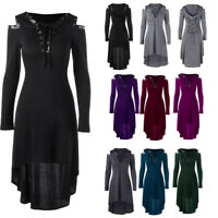 Lady Lace Up Cold Shoulder Hooded Midi Dress High Low Hem Dress