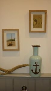 Duck egg blue ceramic large anchor design rustic nautical vase 32 cm tall