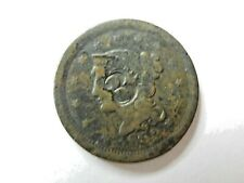 "1852 Large Cent Early 1C Counter Stamped with the number "" 3 "" ~ 161 years old"