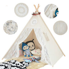 Children Teepees Lace Cream Tent For Girls Kids Play Tent Cotton & Lace Tipi