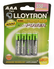 Lloytron B014 AAA 550mAh NIMH AccuPower Rechargeable Batteries - Pack of 4
