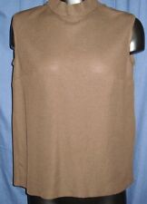 VTG Brown Mock Sleeveless Retro Blouse Top Shirt XS