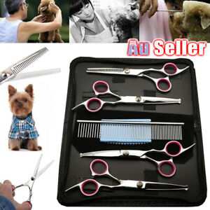 """7"""" Professional Shears Set Pet Grooming Scissors Cat Do Hair Cutting Curved Tool"""
