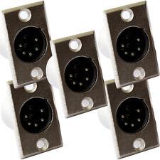 Qty 5 Xlr de 5 pin/pole Macho Soldar connector-chassis/patch de montaje del panel módulo Plug
