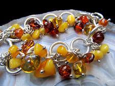"""Baltic Amber Bracelet Charm Sterling Silver 925 Adjustable 7.5"""" Handmade Vintage"""