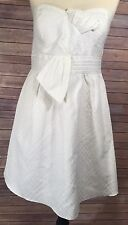 Max and Cleo Women's White Strapless Formal Party Cocktail Dress Size 14