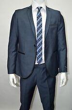 Men's Teal Blue Sharkskin 1 Button Slim Fit Suit w/ Black Trim SIZE 44R NEW