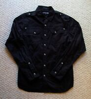 Mens Affliction Black Long Sleeve Button Up Shirt Embroidered Size L