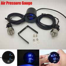 12V Car SUV 52mm Dual Digital Air Pressure Gauge Blue LED with 1/8 NPT Sensors