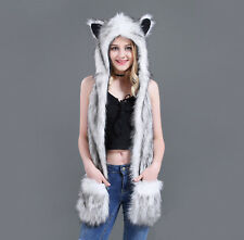 Women Faux Fur Animal Ears Hat Gloves Mittens Scarf Snood Hood Paws